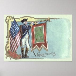 革命的な戦争の兵士の米国旗の角 ポスター
