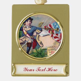 革命的な戦争の愛国心が強い男の子の旗のヴィンテージの芸術 ゴールドプレートバナーオーナメント