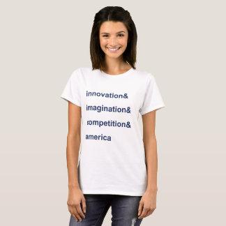 革新の想像の競争アメリカの青 Tシャツ