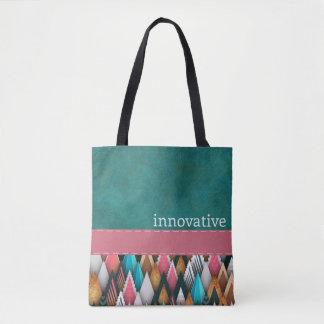 革新的な-ティール(緑がかった色)、サケ、ピンク-ハンドバッグ トートバッグ