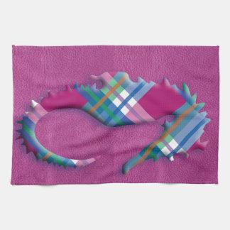 革質のピンクの青い格子縞のタツノオトシゴ キッチンタオル