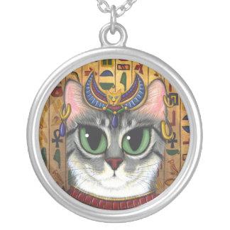 靭皮繊維の女神のエジプト人のBastet猫の芸術のネックレス シルバープレートネックレス
