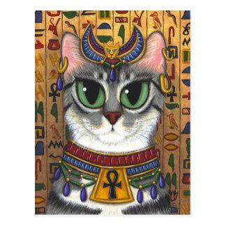 靭皮繊維の女神のエジプト人のBastet猫の芸術の郵便はがき ポストカード