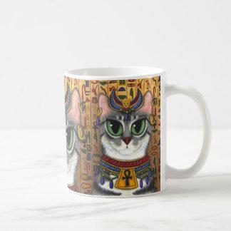 靭皮繊維の女神のBastetのエジプト猫の芸術のマグ コーヒーマグカップ