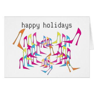 靴のお祝いの休日カード グリーティングカード