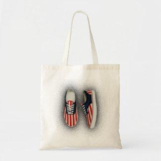 靴のバッグの赤い白および青米国の旗 トートバッグ