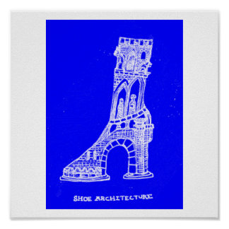 靴の建築のプリント(青写真のスタイル) ポスター