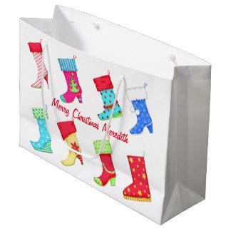 靴の恋人の名前の名前入りなクリスマスのストッキング ラージペーパーバッグ