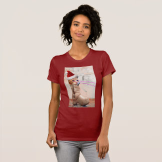 靴のTシャツのキーボード猫サンタ Tシャツ