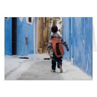 靴を履かない男の子、ラバト、モロッコ カード