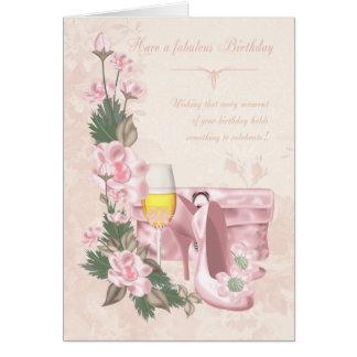 靴、財布およびワインが付いている花のバースデー・カード グリーティングカード