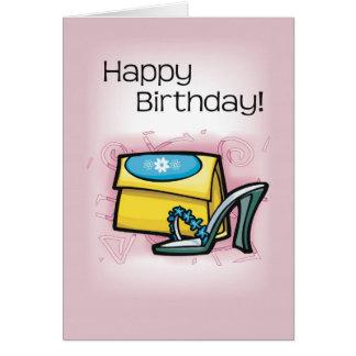 靴、財布、ピンクの誕生日 グリーティングカード