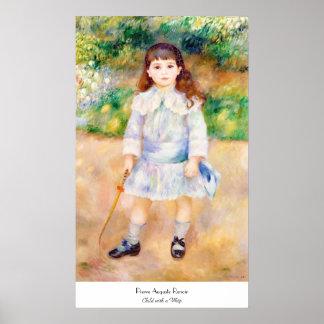 鞭のピエールAugusteルノアールの絵を描くことの子供 ポスター