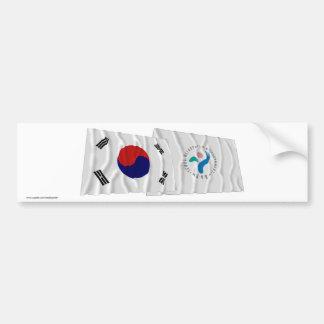 韓国およびソウルの振る旗 バンパーステッカー