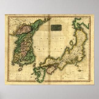 韓国および日本の1815地図 ポスター