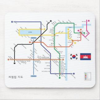 韓国の地下鉄のスタイルのマウスのマットのAngkorの寺院の地図 マウスパッド