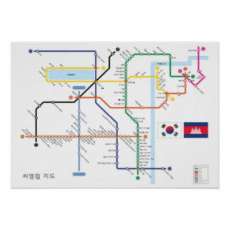 韓国の地下鉄のスタイルのAngkorの寺院の地図 ポスター