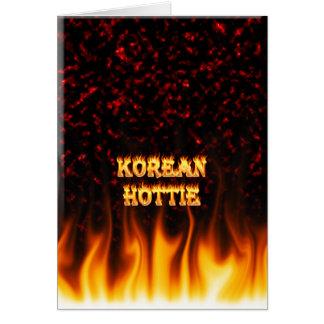 韓国人のHottieの火および炎の赤の大理石 カード