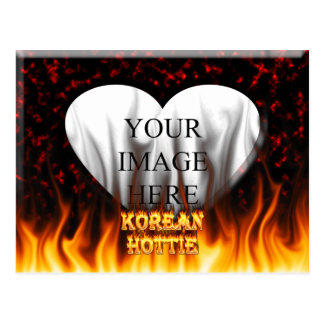 韓国人のHottieの火および炎の赤の大理石 ポストカード
