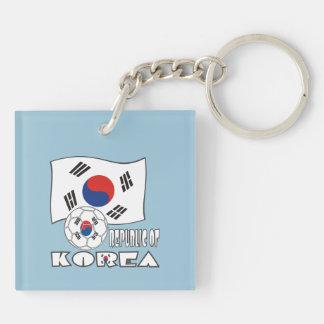 韓国(南)のサッカーボールおよび旗 正方形(両面)アクリル製キーホルダー
