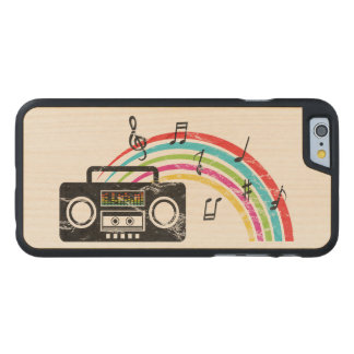 音楽および虹が付いているレトロのboombox ケース