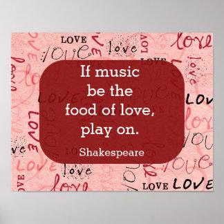 音楽が食糧シェークスピアの引用文-芸術のプリントなら ポスター