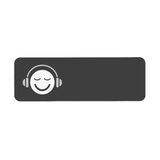 音楽にこやかなDJのミュージシャンのモダンのカッコいいの灰色のブランク 返信用宛名ラベル