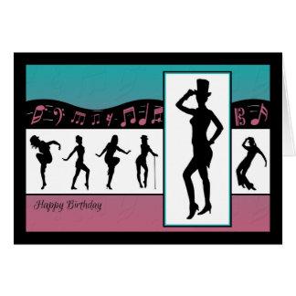 音楽のジャズダンサーはバースデー・カードに注意します カード