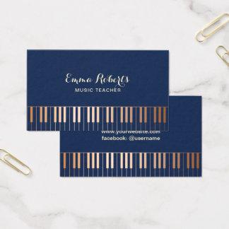 音楽の先生のピアノは濃紺及び金ゴールドを調整します 名刺