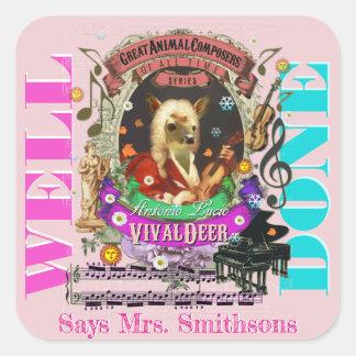 音楽の先生の報酬のステッカーのVivaldiのシカ スクエアシール