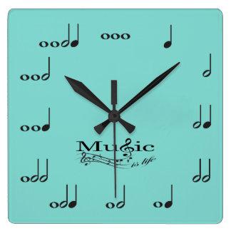 音楽の音楽ノートは生命発言です スクエア壁時計