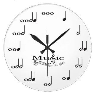 音楽の音楽ノートは生命発言です ラージ壁時計