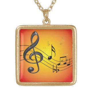 音楽はネックレスに注意します ゴールドプレートネックレス