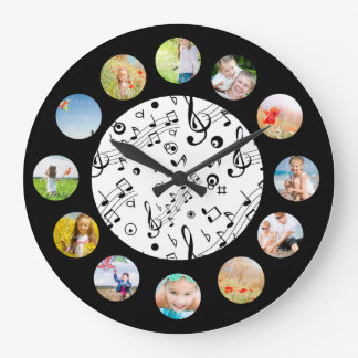 音楽はパターン写真のコラージュに注意します ラージ壁時計