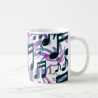 音楽は半透明で渦巻形のなパターンに注意します コーヒーマグカップ