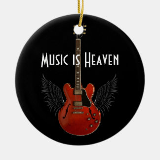 音楽は天国の円形のクリスマスのオーナメントです セラミックオーナメント