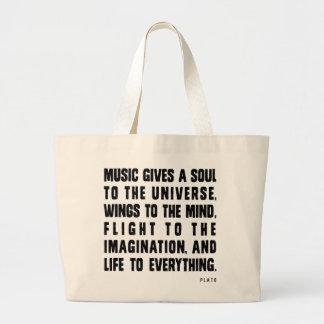 音楽は宇宙に精神を与えます ラージトートバッグ