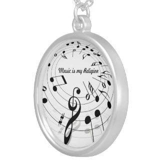 音楽は私の宗教のネックレスです シルバープレートネックレス