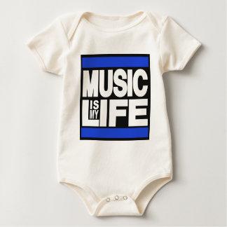 音楽は私の生命青です ベビーボディスーツ