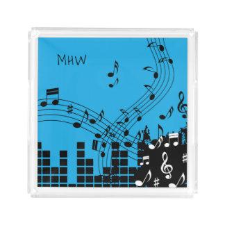 音楽イラストレーションのカスタムなモノグラムの皿 アクリルトレー