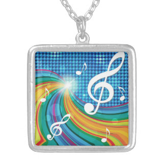 音楽イラストレーションのネックレス シルバープレートネックレス