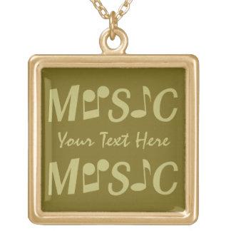 音楽カスタムのネックレス ゴールドプレートネックレス