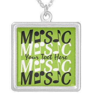 音楽カスタムのネックレス シルバープレートネックレス