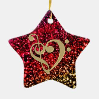 音楽クレフ、音符記号のハートのきらめくで赤い星 セラミックオーナメント