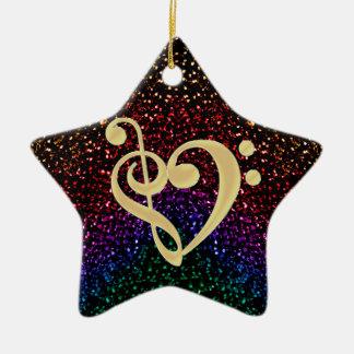 音楽クレフ、音符記号のハートのきらめくな虹の星 セラミックオーナメント