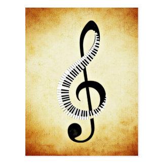 音楽クレフ、音符記号のピアノ鍵 ポストカード