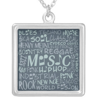 音楽ジャンルの単語のコラージュのネックレス シルバープレートネックレス