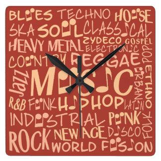 音楽ジャンルの単語のコラージュの柱時計 スクエア壁時計