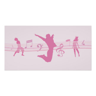 音楽ダンスおよび戯曲ピンク ポスター