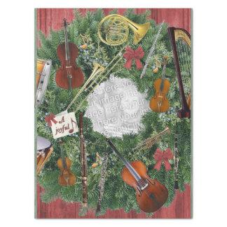 音楽テーマのクリスマスのリースの個人的な写真 薄葉紙